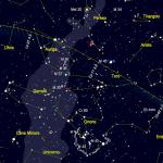 Posizione della cometa 46P/Wirtanen - mappa realizzata con Skychart